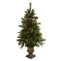 Nearly Natural 4-Foot Pre-Lit Berries and Pine Cones Christmas Tree in Decorative Urn