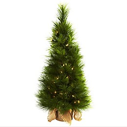 Nearly Natural 3-Foot Pre-Lit Christmas Tree with Burlap Base