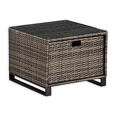 Tommy Hilfiger Oceanside 24-Inch Square Rattan Outdoor Side Table in Grey