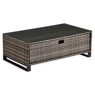 Tommy Hilfiger Oceanside Rectangle Rattan Outdoor Coffee Table in Grey