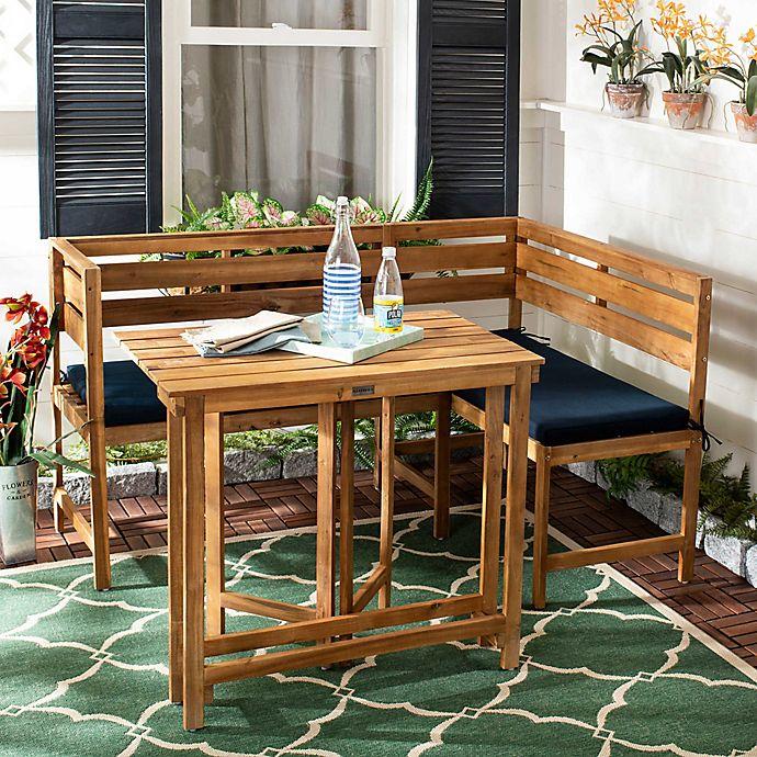 Alternate image 1 for Safavieh Wilton Balcony Corner Lounge Set in Teak/Navy
