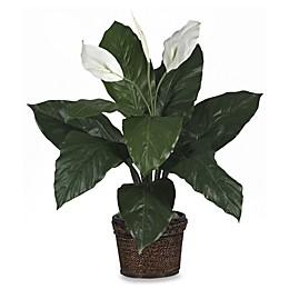 Nearly Natural 26-Inch Spathyfillum w/Wicker Silk Plant