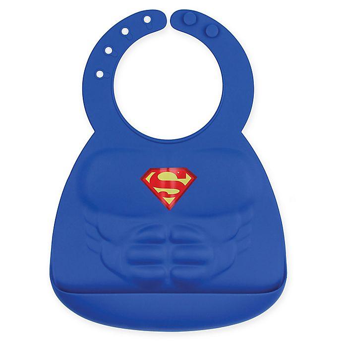 Alternate image 1 for Bumkins® DC Comics™ Superman Muscles Multicolor Silicone Bib