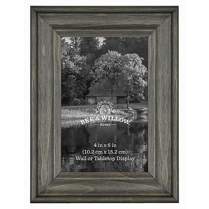Alternate image 1 for 4-Inch x 6-Inch Rustic Wooden Picture Frame in Oxford Black