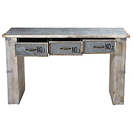 Nearly Natural 32-Inch Industrial White Wash Wood and Metal Desk