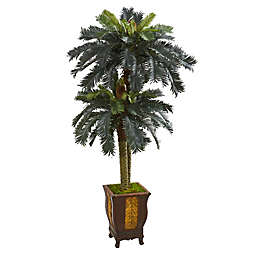 Nearly Natural 72-Inch  Double Sago Palm Tree with Planter