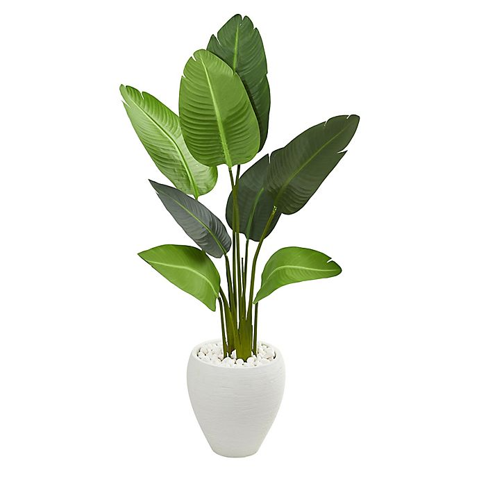 Alternate image 1 for Nearly Natural 4-Foot Travelers Palm Tree in Oval White Planter