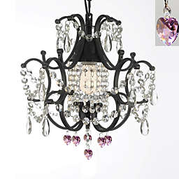 Gallery Mini Wrought Iron Crystal Chandelier in Pink Hearts