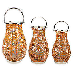 Northlight Modern Woven Iron Pillar Candle Lantern
