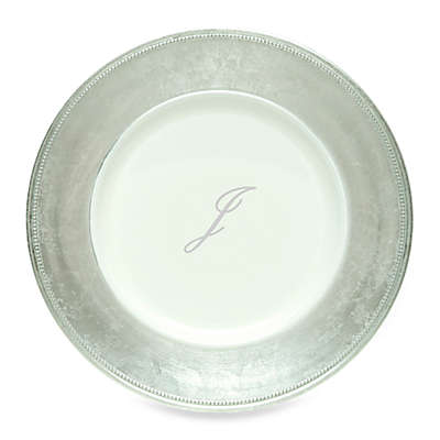 """Charge It by Jay! 13-Inch Silver Letter """"J"""" Monogram Charger Plates (Set of 8)"""