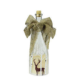 Northlight Deer Accent Flameless LED Pillar Candle in Clear Glass Bottle Lantern