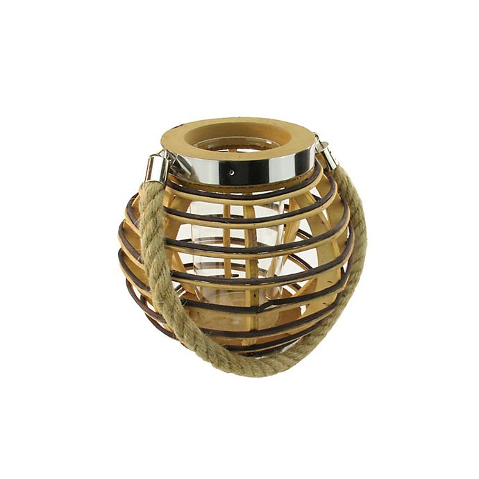 Alternate image 1 for Northlight 7.5-Inch Rustic Chic Round Rattan Candle Holder Lantern
