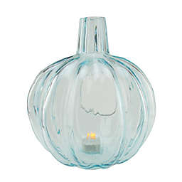 Northlight 9-Inch Glass Pumpkin Candle Holder in Light Blue