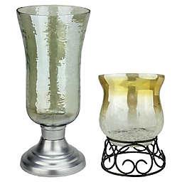 Northlight Golden Luster Hurricane Pillar Candle Holder