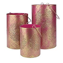 Northlight Seasonal Decorative Floral Cut-out Pillar Candle Lanterns (Set of 3)