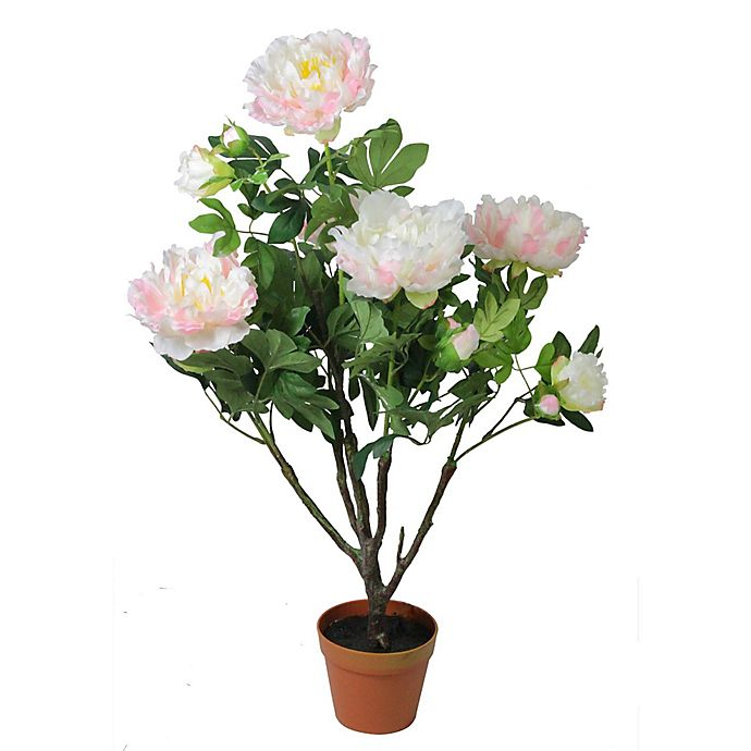 Alternate image 1 for Artificial Light Peony 36-Inch Flower Plant in Green/Pink with Pot