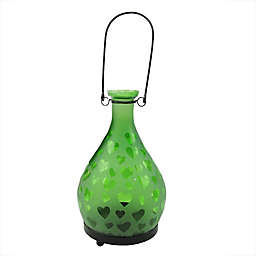 Northlight 8.75-Inch Frosted Hearts Glass Bottle Tea Light Candle Lantern in Green