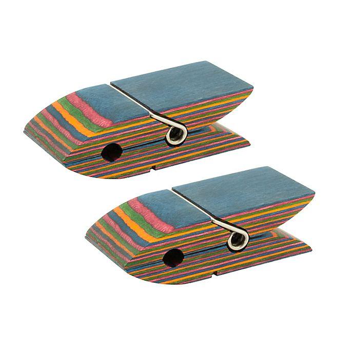 Island Bamboo Rainbow Pakka Wood Bag Clips Set Of 2