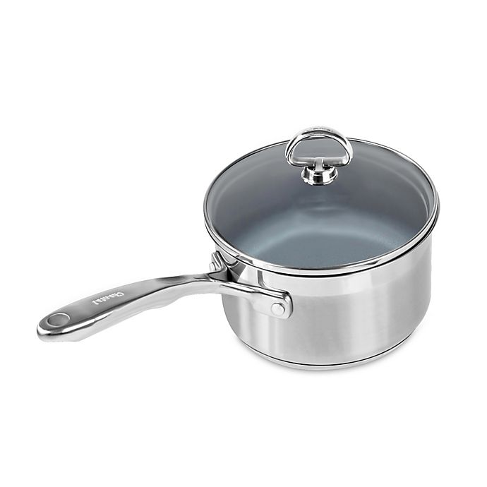 Alternate image 1 for Chantal® Nonstick Ceramic Coated Induction 21 Steel™ 2 qt. Covered Saucepan