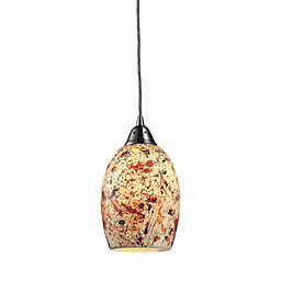 ELK Lighting Avalon 1-Light Mini Pendant in Satin Nickel/Cream Speckled Glass