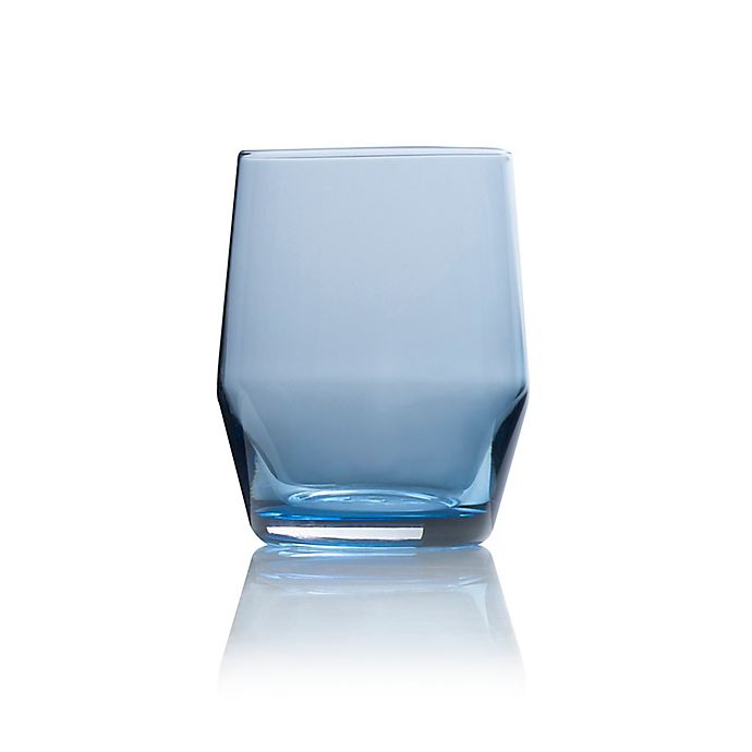 Alternate image 1 for Mikasa® Swirl Edge Double Old Fashioned Glasses in Blue (Set of 4)