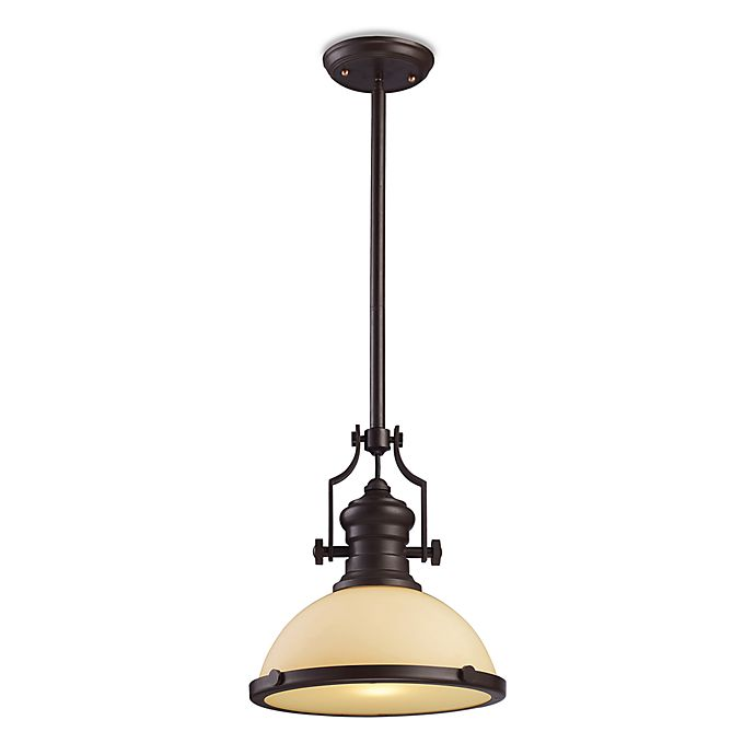 Chadwick 3 Light Pool Table Light: ELK Lighting Chadwick 13-Inch Pendant In Oiled Bronze With