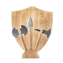 Kikkerland® Design Medieval 4-Piece Cheese Board Set in Beige