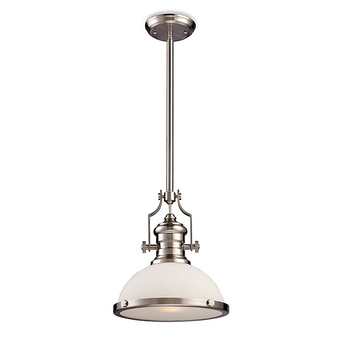 Elk Lighting Chadwick Pendant: ELK Lighting Chadwick 1-Light Pendant In Satin Nickel W
