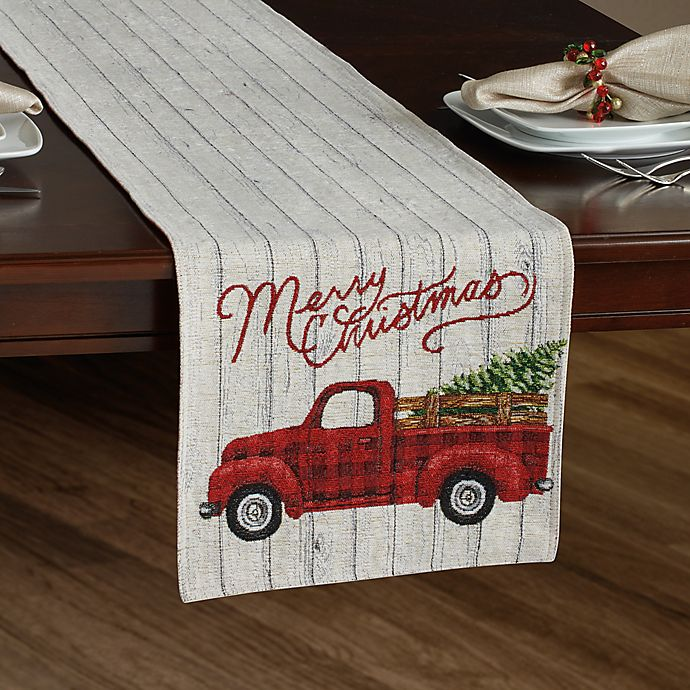 Alternate image 1 for Holiday Plaid Tapestry Truck Table Runner
