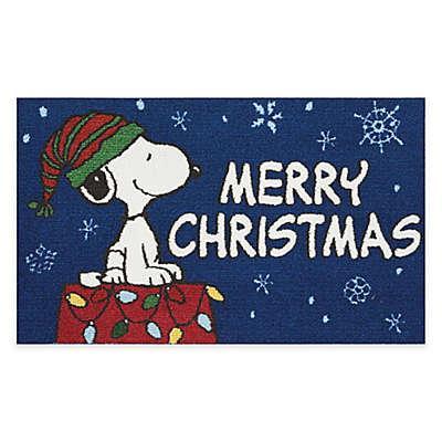 Peanuts® 'Merry Christmas' 1'6 x 2'6 Door Mat in Navy