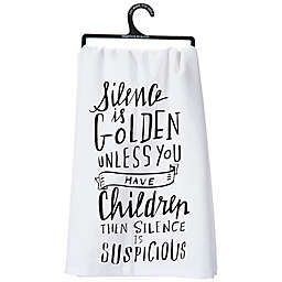 """Primitives by Kathy® """"Silence is Golden"""" Kitchen Towel"""