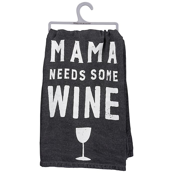 Primitives By Kathy Mama Wine Kitchen Towel In White