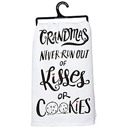 "Primitives by Kathy® ""Kisses or Cookies"" Kitchen Towel in White"