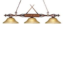 ELK Lighting Designer Classics 3-Light Billiard/Island Fixture in Wood Patina/Amber Shades