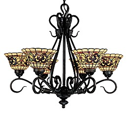 ELK Lighting Buckingham Tiffany 6-Light Chandelier in Vintage Antique
