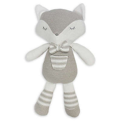 Living Textiles Charley Fox Knitted Plush Toy in Grey