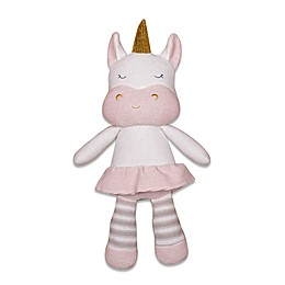 Living Textiles Kenzie Unicorn Knitted Plush Toy in Pink