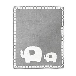 Living Textiles Elephant Chenille Blanket in Grey