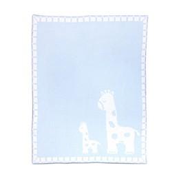 Living Textiles Giraffe Chenille Baby Blanket in Blue