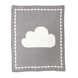 Living Textiles Cloud Chenille Baby Blanket in White/Grey