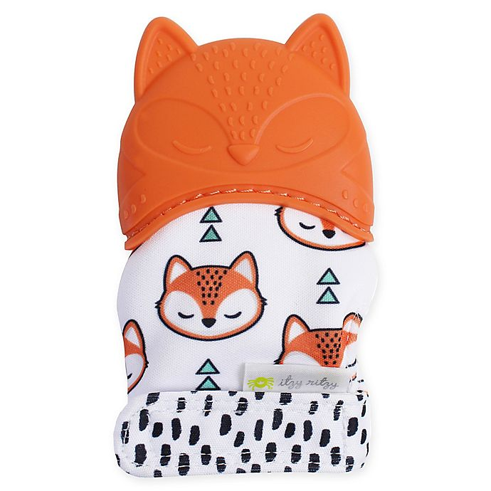 Alternate image 1 for Itzy Ritzy® Silicone Fox Teething Mitt in Orange