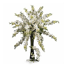 Nearly Natural 33-Inch Delphinium Bouquet in White