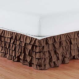 Elegant Comfort Multi-Ruffle Twin Bed Skirt in Chocolate Brown