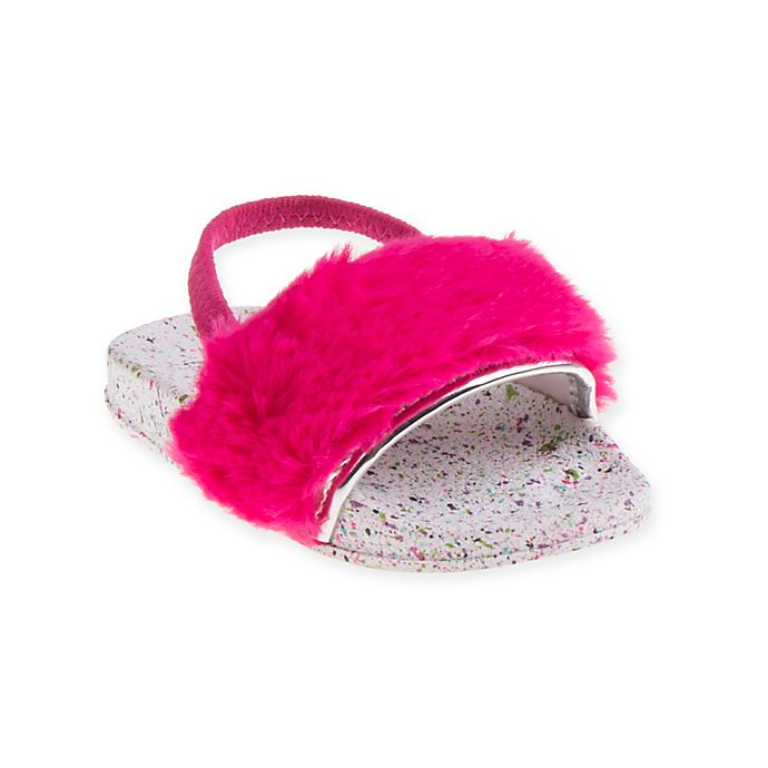 Alternate image 1 for First Steps Fur Slide Sandal in Hot Pink