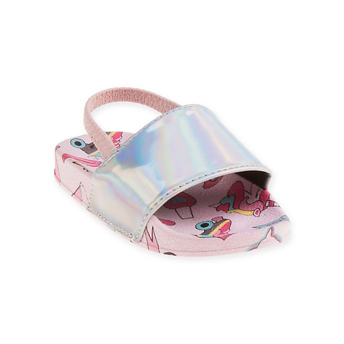 Alternate image 1 for First Steps Emoji Slide Sandal in Silver
