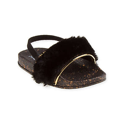 First Steps Fur Slide Sandal in Black