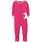 carter's® Size 12M Dot Unicorn Cotton Rib Footie in Pink