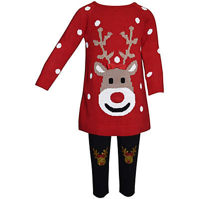 Blueberi Boulevard 2-Piece Reindeer Applique Ugly Christmas Sweater and Print Legging Set