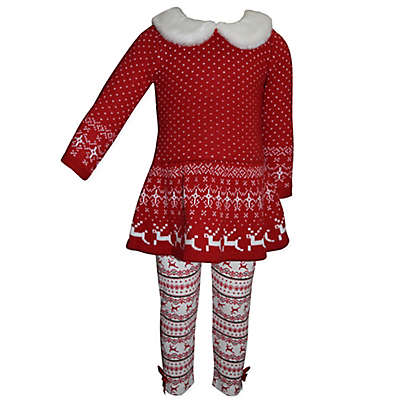 Blueberi Boulevard 2-Piece Fur Trim Snowflake Sweater and Legging Set in Red