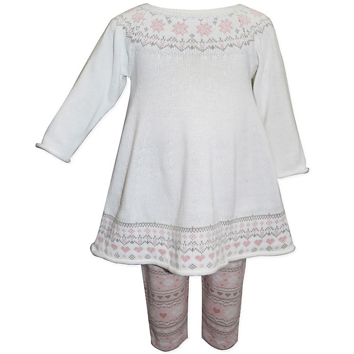 Alternate image 1 for Blueberi Boulevard Size 12M 2-Piece Jacquard Trim Knit Sweater and Legging Set in White